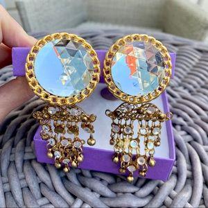 Vintage Chandelier Gold & Crystal Earrings